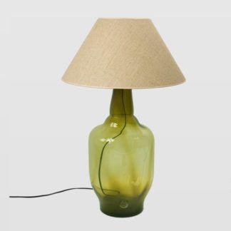 Lampa stołowa Bee - szklana, oliwkowa, z abażurem
