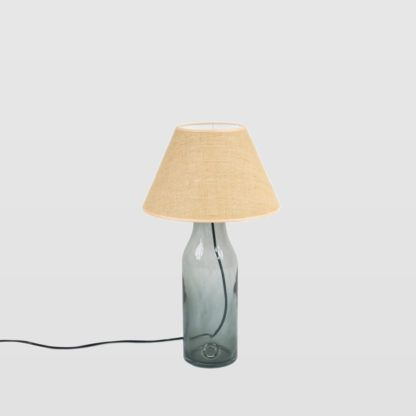 szara, szklana lampa stołowa z beżowym abażurem -eko