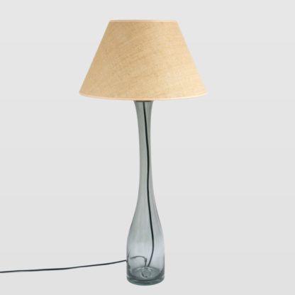 smukła lampa stołowa/podłogowa ze szkła barwionego na szaro