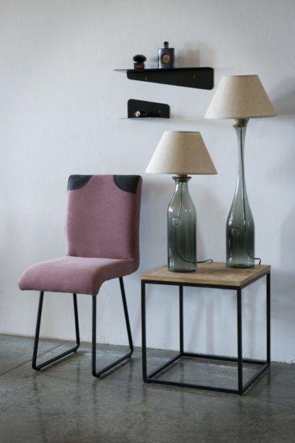 szklana lampa stołowa, szare szkło, produkt polski - aranżacja