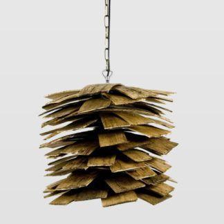 Lampa wisząca Shingle - klosz z drewnianych listewek