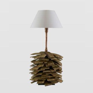 Lampa stołowa Shingle - drewniana, biały abażur