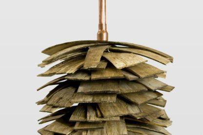 designerska lampa podłogowa szyszka, drewniana