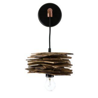 Lampa ścienna Shingle - drewniana z rurką miedzianą