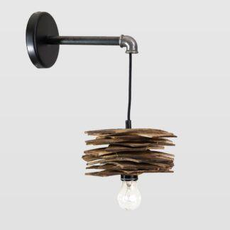 Lampa ścienna Shingle - drewniana z rurką stalową