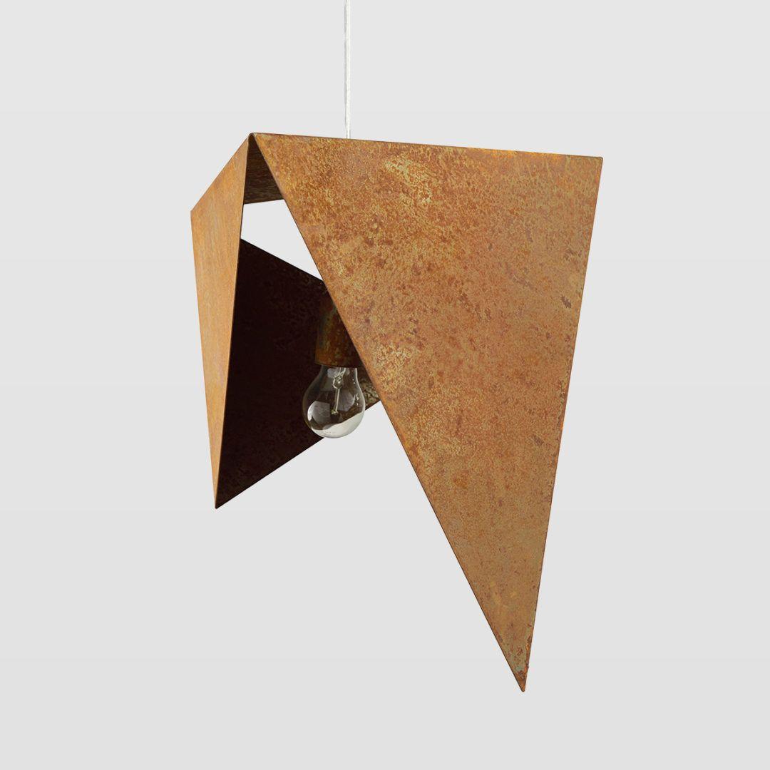 metalowa lampa wisząca, geometryczna, rdza