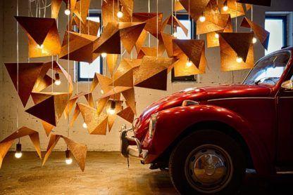 metalowa, rdzawa lampa wisząca, metalowe origami