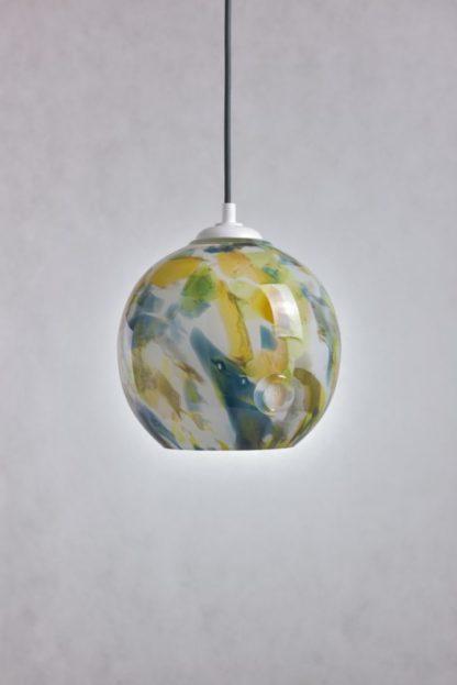 lampa wisząca z kolorowego szkła, okrągła, ręcznie formowana