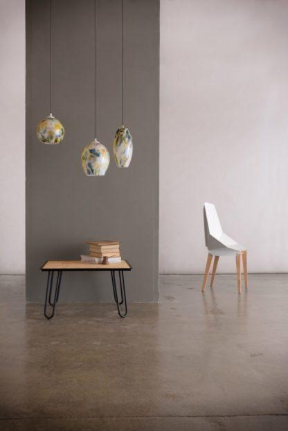 szklane lampy wiszące, nowoczesne - aranżacja
