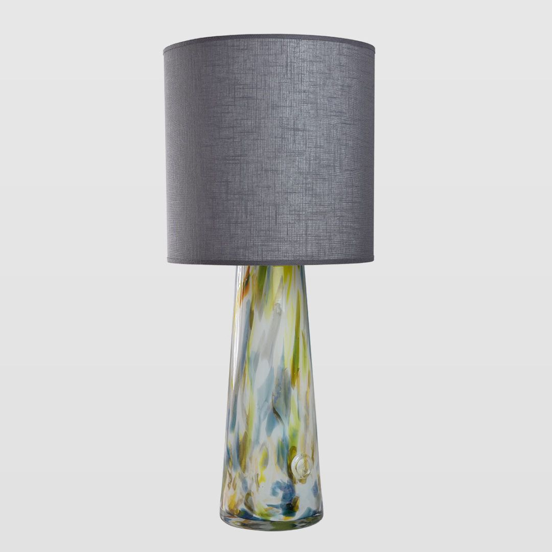lampa stołowa, podstawa w kształcie stożka, kolorowe szkło