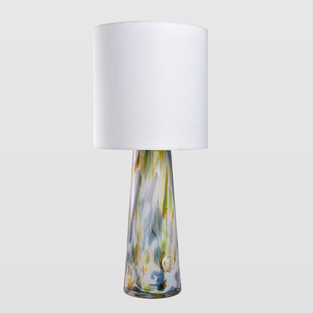 lampa stołowa z zwężaną podstawą, biały abażur