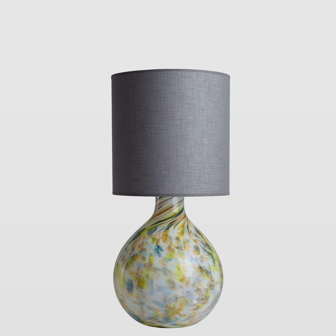 lampa stołowa ze szklaną podstawą, szary abażur