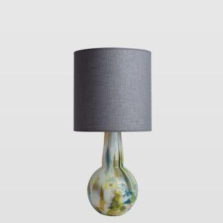 Lampa stołowa Galaxy - szklana, z szarym abażurem