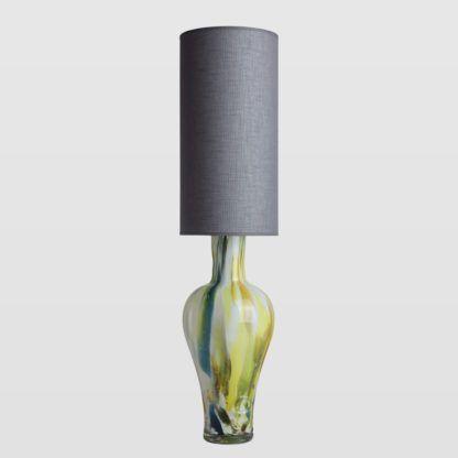 kolorowa lampa ze szkła, szary abażur, pionowa