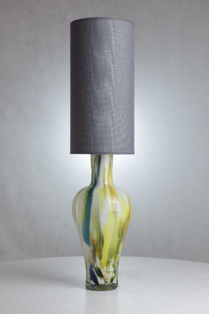 lampa stołowa z kolorowego szła, szary abażur