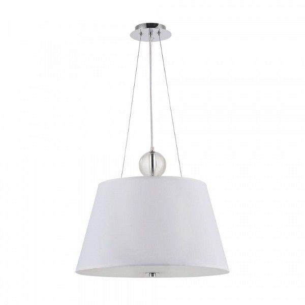 nowoczesna, biała lampa wisząca z jasnym abażurem, do salonu, do jadalni