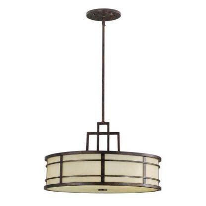 okrągła lampa wisząca z beżowym kloszem i brązowymi detalami, klasyczny styl retro