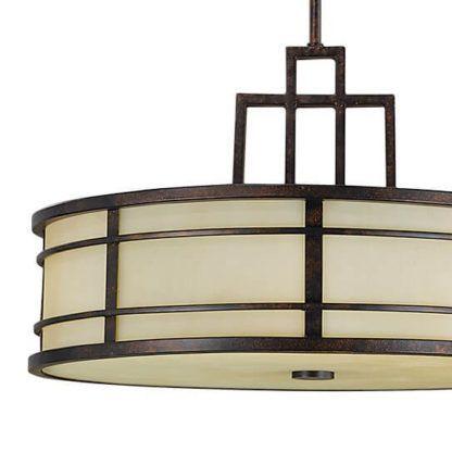brązowo-beżowa lampa wisząca w stylu prowansalskim, dworkowym, klasyczna