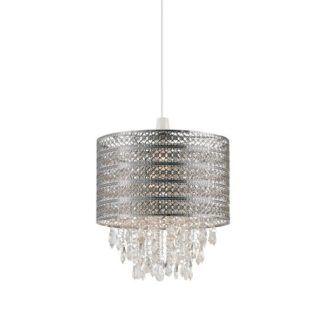 Elegancka lampa wisząca Harewood – srebrna, ażurowa, dekoracyjne wisiorki
