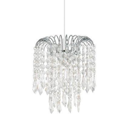 lampa glamour z wieloma wiszącymi kryształami