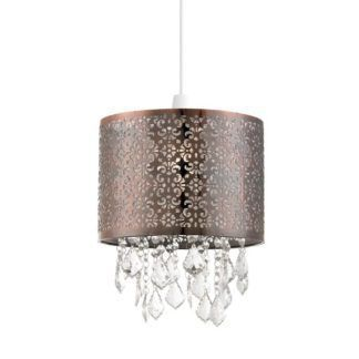 Nowoczesna lampa wisząca Moccas – ażurowy klosz, kryształki