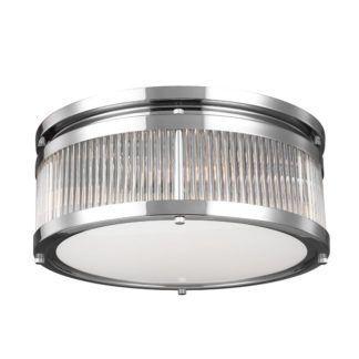Szklany plafon Paulson - okrągły klosz ze srebrnymi detalami