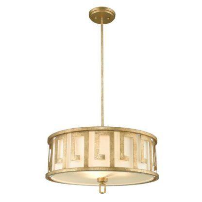 złota, klasyczna lampa wisząca, mleczny klosz
