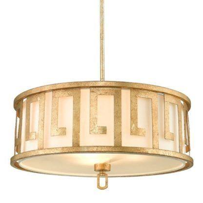 okrągła lampa wisząca z antycznym wzorem