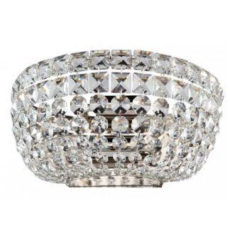 Srebrny kinkiet Basfor - glamour, kryształowy