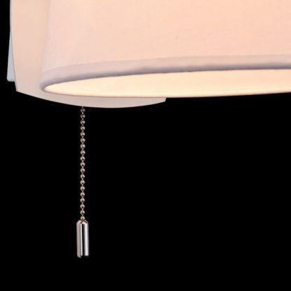 elegancki, biały kinkiet w stylu modern classic, włącznik sznurkowy