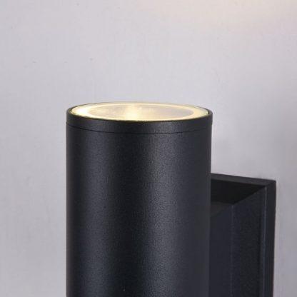 czarny kinkiet, oświetlenie zewnętrzne, nowoczesny