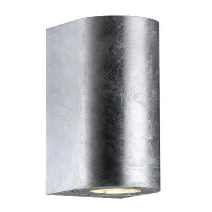 metalowy, srebrny kinkiet zewnętrzny, tuba