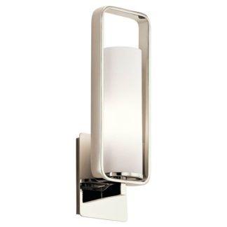 Srebrny kinkiet City Loft - klosz z mlecznego szkła, nowoczesny