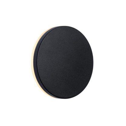 okrągły, czarny kinkiet zewnętrzny