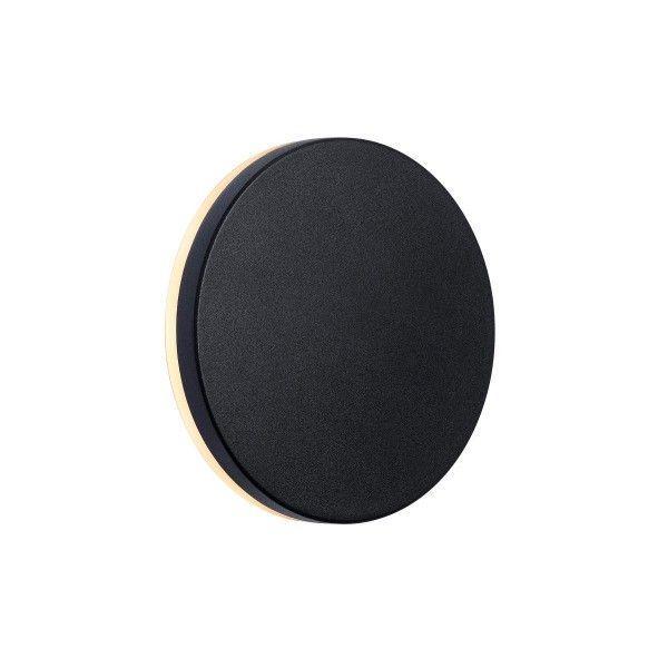 okrągły, czarny kinkiet LED, zewnętrzny