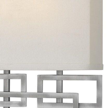 srebrny kinkiet, beżowy klosz, modern classic