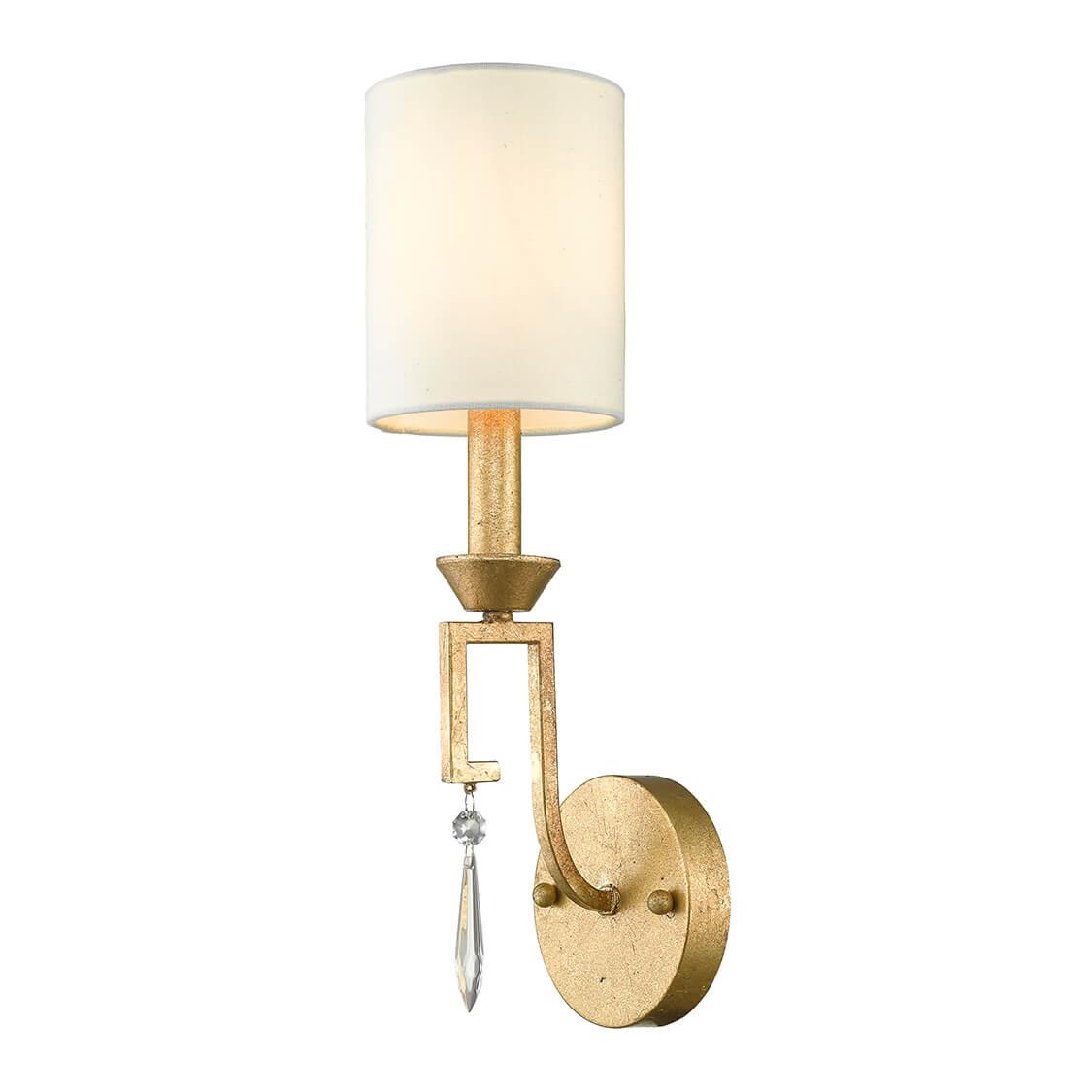 złoty, klasyczny kinkiet świecznikowy z dekoracyjnym kryształkiem