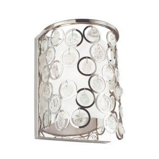 Srebrny kinkiet Lexi - biały abażur, kryształki