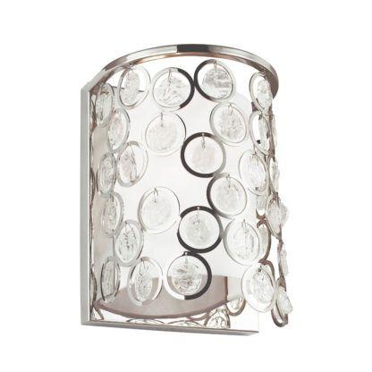srebrny kinkiet z abażurem ozdobiony okręgami z kryształkami w środku