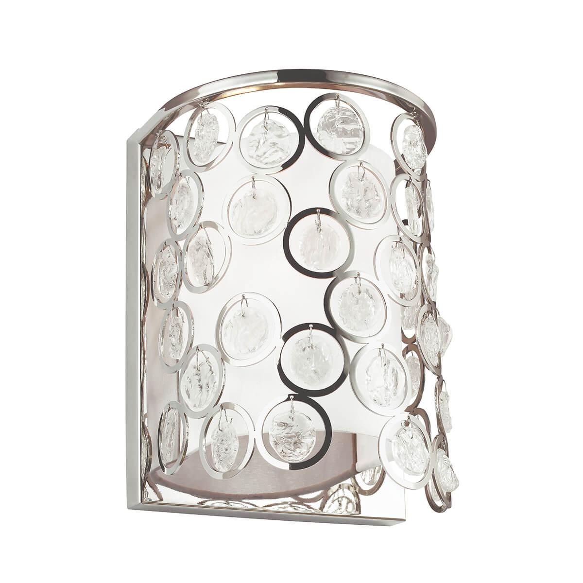 srebrny kinkiet w stylu glamour, malutkie kryształki okrągłe