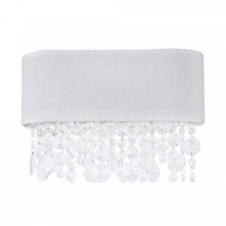 Elegancki kinkiet Manfred - biały abażur, kryształki