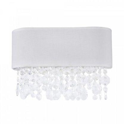 biały kinkiet owalny ze zwisającymi kryształkami