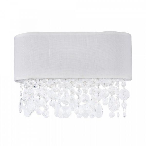 elegancki kinkiet z białym abażurem, styl glamour, kryształki