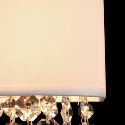 kinkiet glamour z białym, materiałowym abażurem i kryształkami