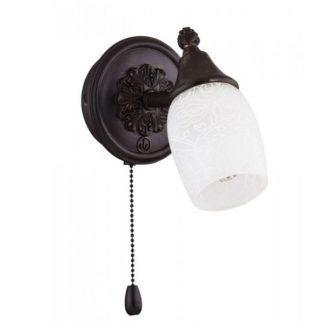 Brązowy kinkiet Margaret - klasyczny design, szklany klosz