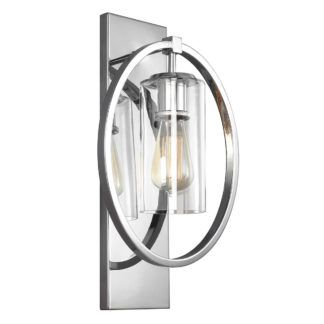 Industrialny kinkiet Marlena - szklany, srebrna obudowa