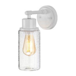 Biały kinkiet Morvah - szklany klosz, industrial, IP44
