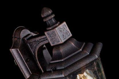 metalowy kinkiet zewnętrzny ze szklanym kloszem, latarnia