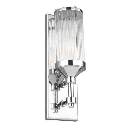 srebrny, klasyczny kinkiet łazienkowy z pionowym kloszem - oświetlenie lustra