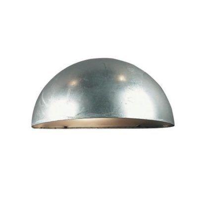 zewnętrzny kinkiet srebrny, półokrągły